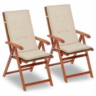 vidaXL Coussin de chaise de jardin 2 pcs Crème 120 x 50 x 3 cm