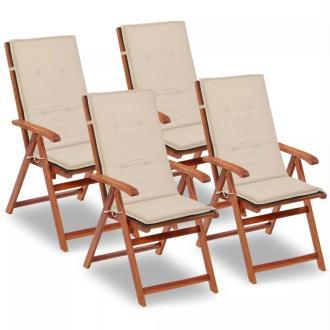 vidaXL Coussin de chaise de jardin 4 pcs Crème 120 x 50 x 3 cm