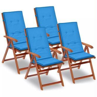 vidaXL Coussin de chaise de jardin 4 pcs Bleu 120 x 50 x 3 cm