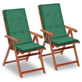 vidaXL Coussin de chaise de jardin 2 pcs Vert 120 x 50 x 3 cm