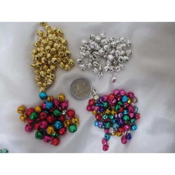 200 Grelots clochettes mixe couleurs et tailles(assortiment de 4 modèles) - Photo n°2