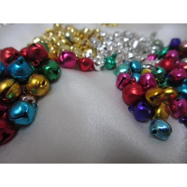 200 Grelots clochettes mixe couleurs et tailles(assortiment de 4 modèles) - Photo n°3