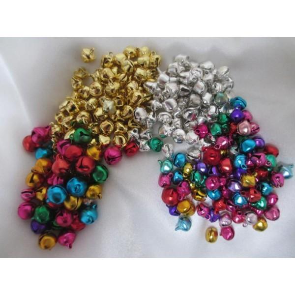 200 Grelots clochettes mixe couleurs et tailles(assortiment de 4 modèles) - Photo n°1