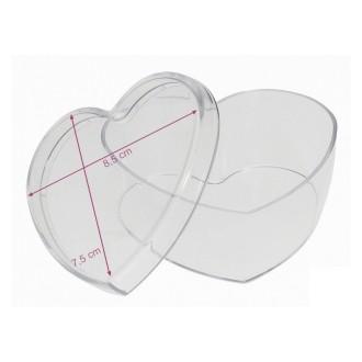 Boite séparable en plastique transparent forme Cœur, 8,5 x 7,5 cm, contenant pour dragées