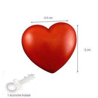 Cœur Rouge en plastique non séparable, 9,5 x 8 cm, avec accroche à suspendre, déco romantique