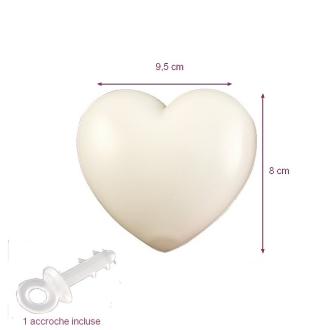 Cœur Blanc en plastique non séparable, 9,5 x 8 cm, avec accroche à suspendre, déco romantique