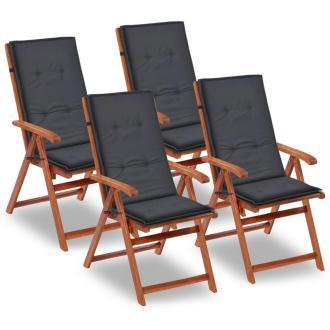 vidaXL Coussin de chaise de jardin 4 pcs Anthracite 120 x 50 x 3 cm