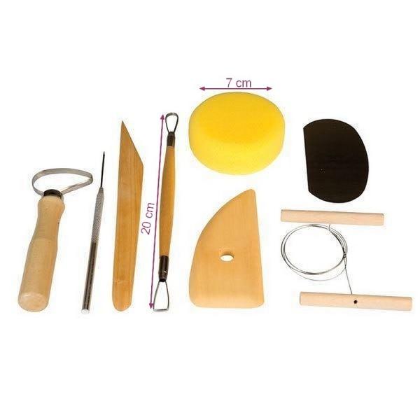 Set de 8 outils de Modelage et de Poterie, accessoires en bois pour l'argile, terre cuite etc - Photo n°2