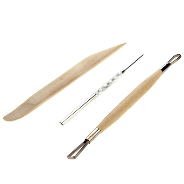 Set de 8 outils de Modelage et de Poterie, accessoires en bois pour l'argile, terre cuite etc - Photo n°3