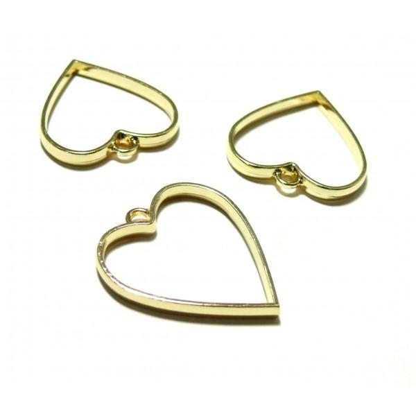 4 breloques pendentifs Coeur Or pour création de Resine ou Fimo HS4712E - Photo n°1