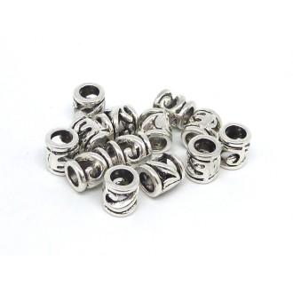 10 Perles Tube Tonneau En Métal Argenté Ajouré à Gros Trou 5mm Style Ethnique