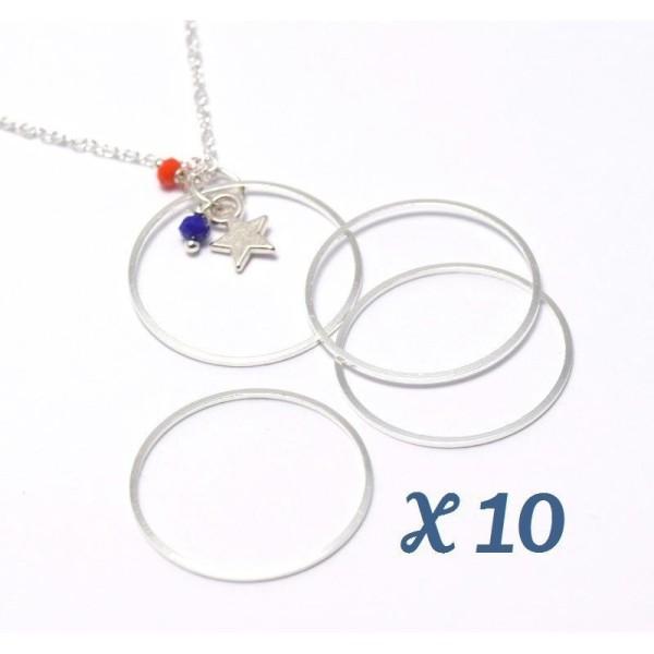 10 Anneaux Connecteurs 25Mm X 1 Mm Argenté - Connecteurs Bijoux Par 10 Unités - Photo n°1