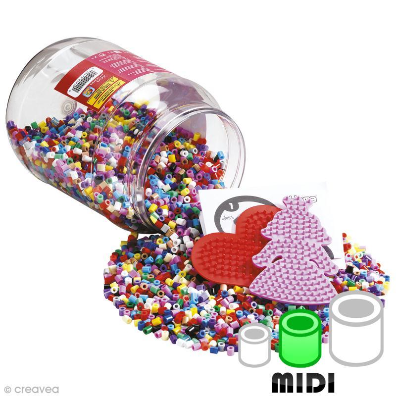 Perles Hama Midi diam. 5 mm - Assortiment Violet et Multicolore - 7000 perles + 2 plaques - Photo n°1