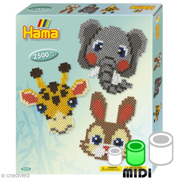Kit Perles Hama Midi - Têtes d'animaux - 2500 perles - Photo n°1