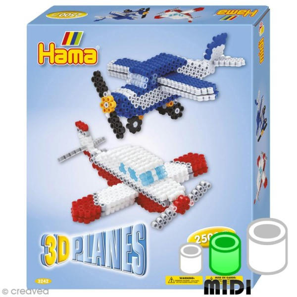 Kit Perles Hama Midi - 3D Avions  - 2500 perles - Photo n°1