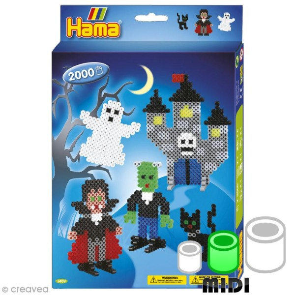 Perles Hama Midi - Coffret Halloween - 2000 perles - Photo n°1