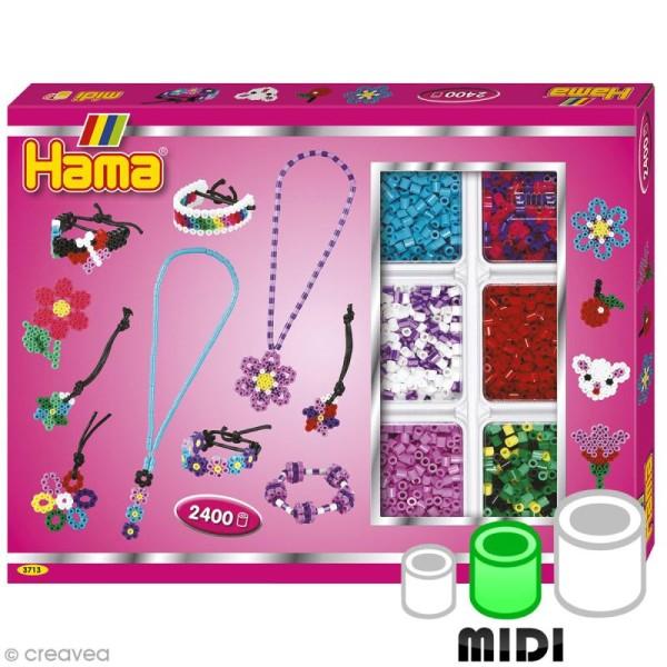 Perles Hama Midi - Coffret activités Bijoux pink - 2400 perles - Photo n°1