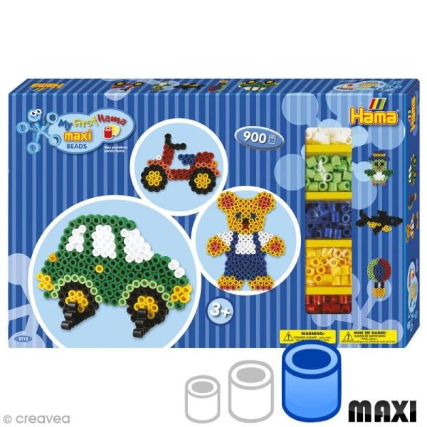 Perles Hama Maxi diam. 1 cm - Coffret Voiture et ourson - 900 perles - Photo n°1