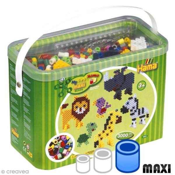 Perles Hama Maxi diam. 1 cm - Maxi Coffret Assortiment - 3000 perles - Photo n°1