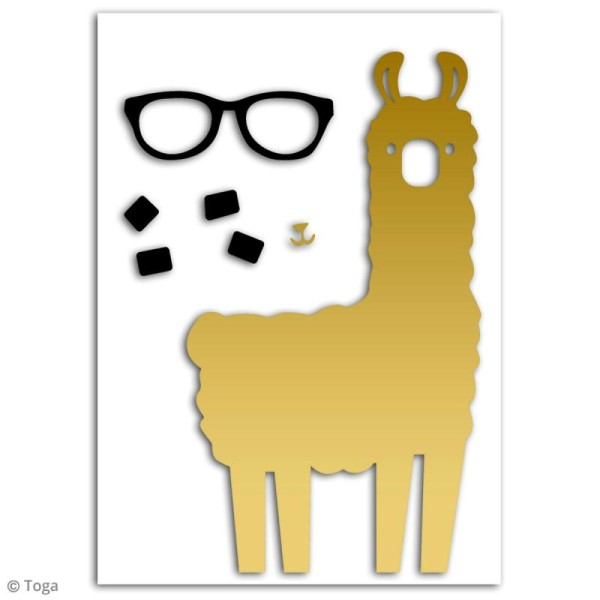 Motif flex thermocollant - Lama doré - 11 x 20 cm - Photo n°2