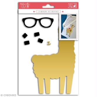 Motif flex thermocollant - Lama doré - 11 x 20 cm