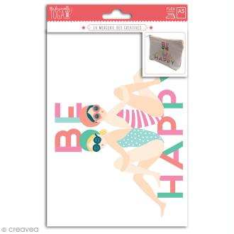 Motif flex thermocollant A5 - Be happy - 18 x 14 cm
