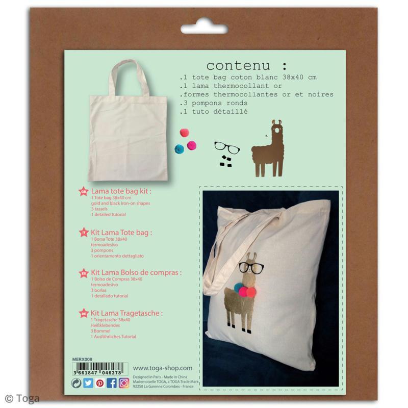 Kit Tote bag à décorer 38 x 40 - Blanc - Lama et pompons - Photo n°2