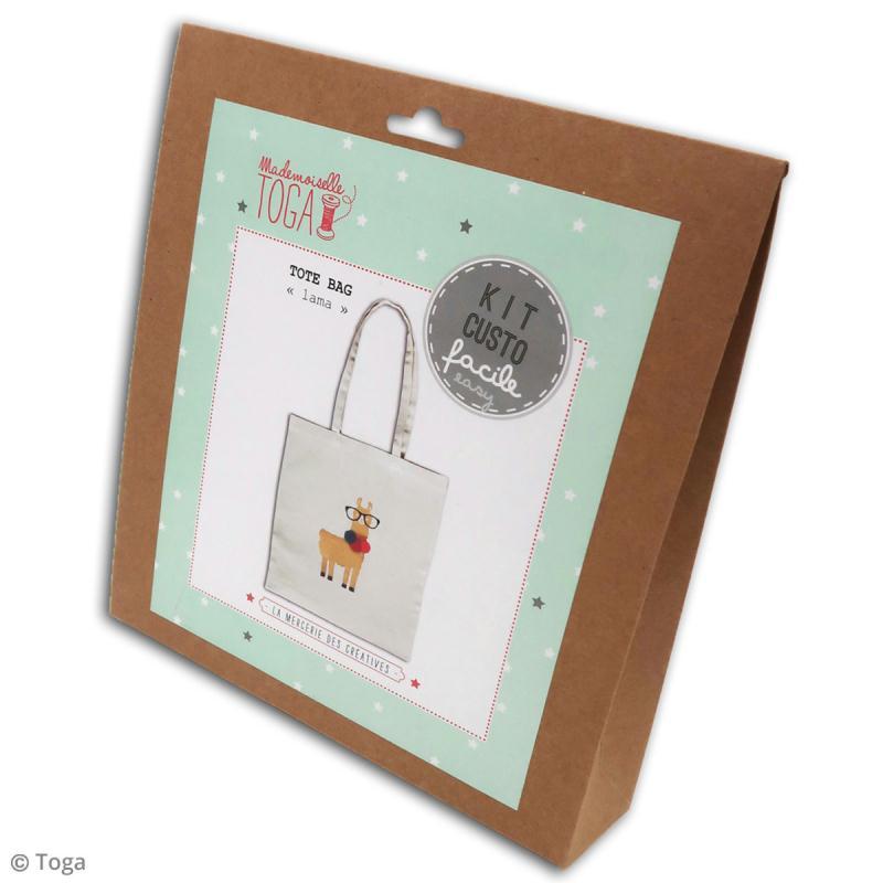 Kit Tote bag à décorer 38 x 40 - Blanc - Lama et pompons - Photo n°3