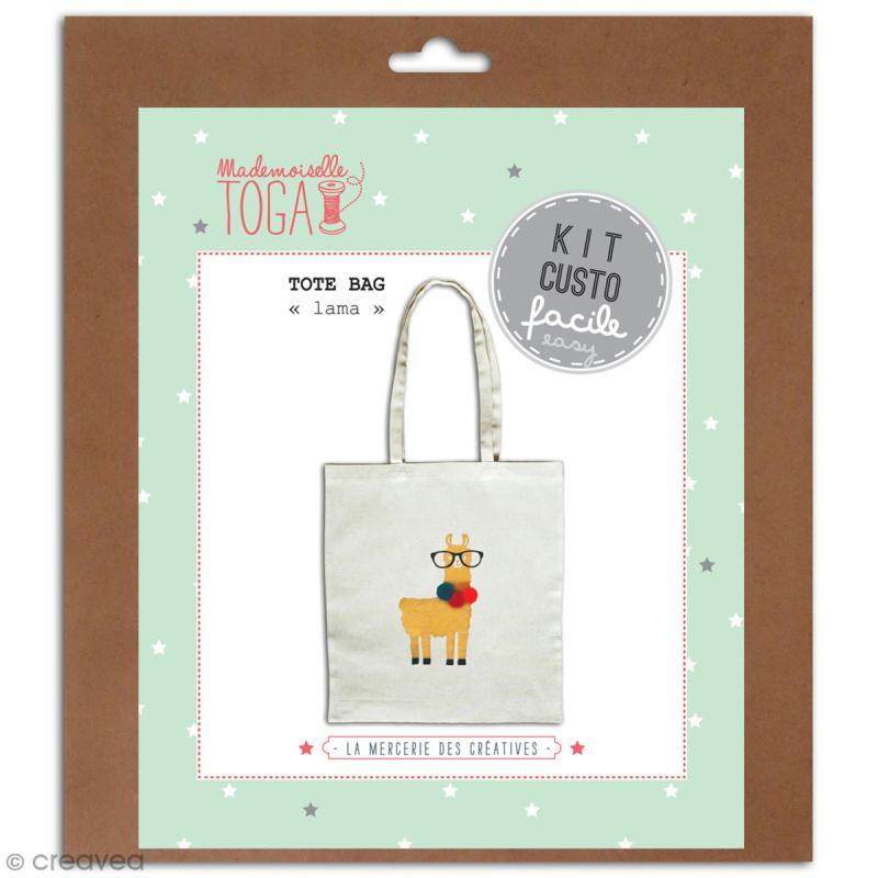 Kit Tote bag à décorer 38 x 40 - Blanc - Lama et pompons - Photo n°1