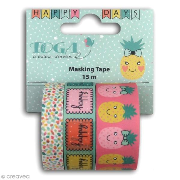 Masking tape Toga - Happy Days - 3 pcs - Photo n°1