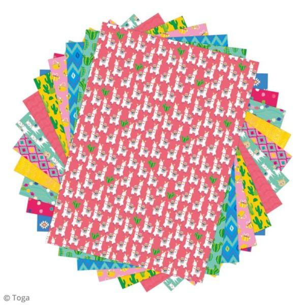 Papier scrapbooking Toga - Color factory - Oh Lamaa - 48 feuilles A4 - Photo n°2
