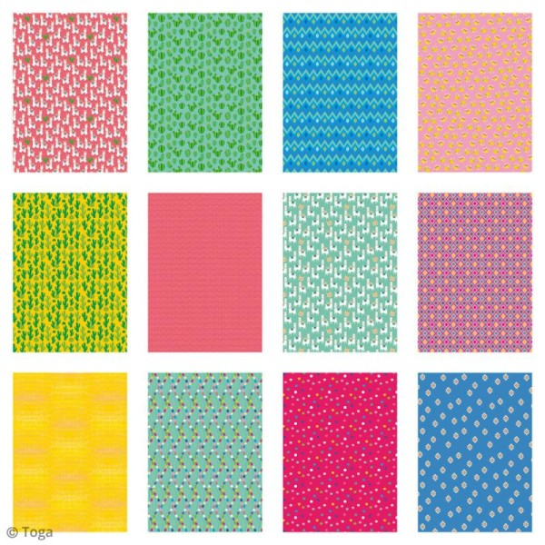 Papier scrapbooking Toga - Color factory - Oh Lamaa - 48 feuilles A4 - Photo n°3