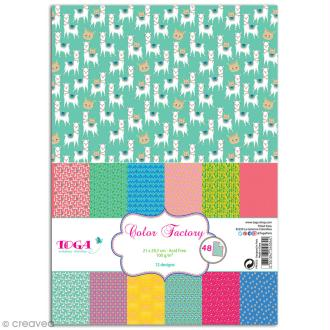 Papier scrapbooking Toga - Color factory - Oh Lamaa - 48 feuilles A4