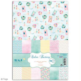 Papier scrapbooking Toga - Color factory - Baigneuses - 48 feuilles A7