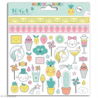 Stickers Toga - Happy Days - 2 planches de 15 x 15 cm