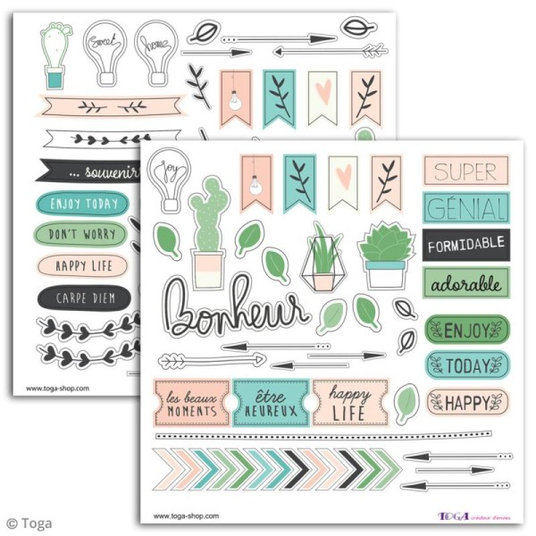 Stickers Toga - Enjoy the Little Things - 2 planches de 15 x 15 cm - Photo n°2