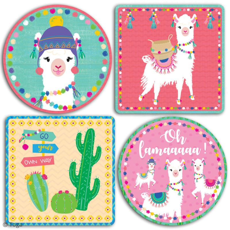 Grands stickers Toga - Oh Lamaa - 10 x 10 cm - 4 pcs - Photo n°2
