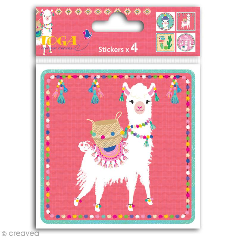 Grands stickers Toga - Oh Lamaa - 10 x 10 cm - 4 pcs - Photo n°1