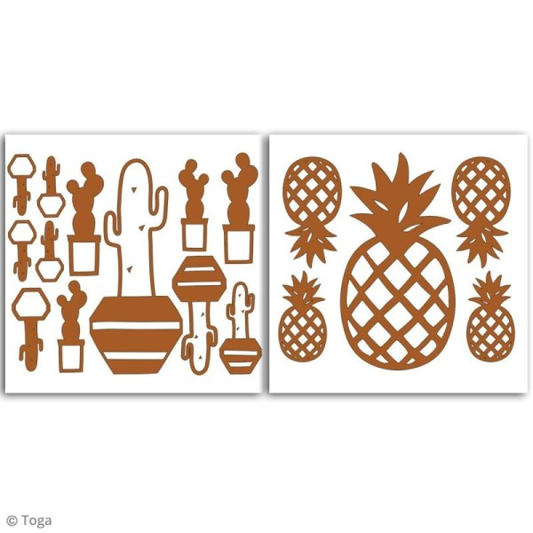 Stickers Fantaisie peel off - Ananas Cuivré - 2 planches - Photo n°2
