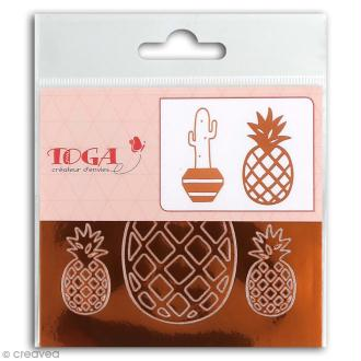 Stickers Fantaisie peel off - Ananas Cuivré - 2 planches
