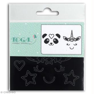 Stickers Fantaisie peel off - Visages d'animaux Noir - 2 planches
