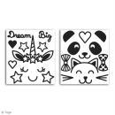 Stickers Fantaisie peel off - Visages d'animaux Noir - 2 planches - Photo n°2