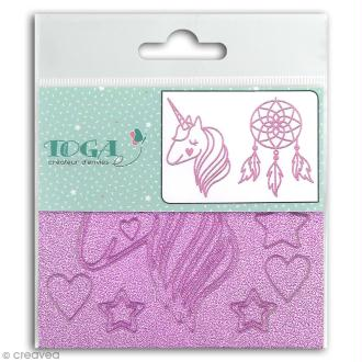Stickers Fantaisie peel off - Licorne Rose pailleté - 2 planches
