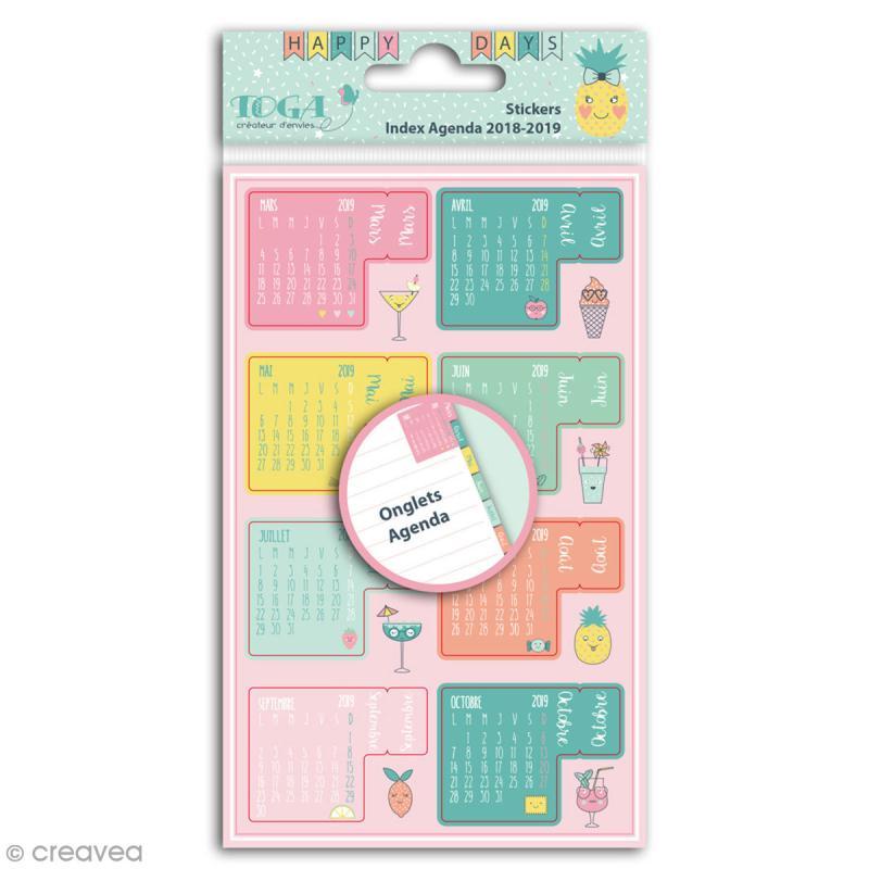 Stickers Onglets avec agenda 2018-2019 Toga - Happy Days - 18 pcs - Photo n°1