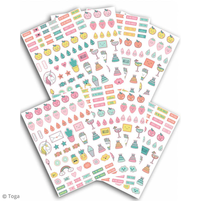 Stickers agenda planner organisation Toga - Happy Days - 500 pcs - Photo n°2