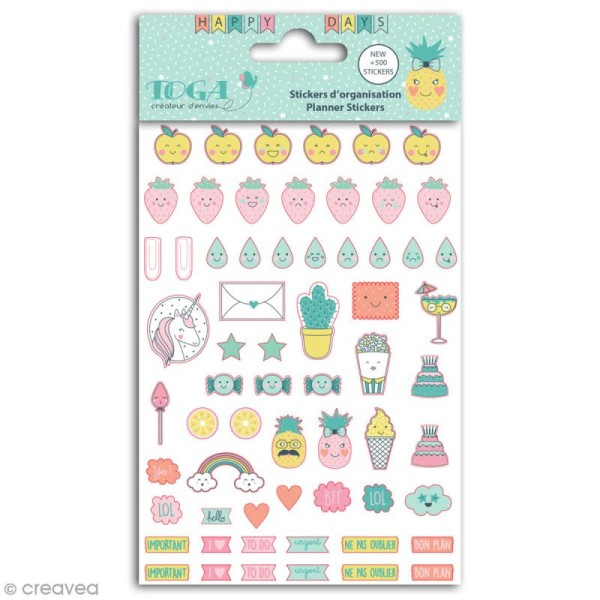 Stickers agenda planner organisation Toga - Happy Days - 500 pcs - Photo n°1