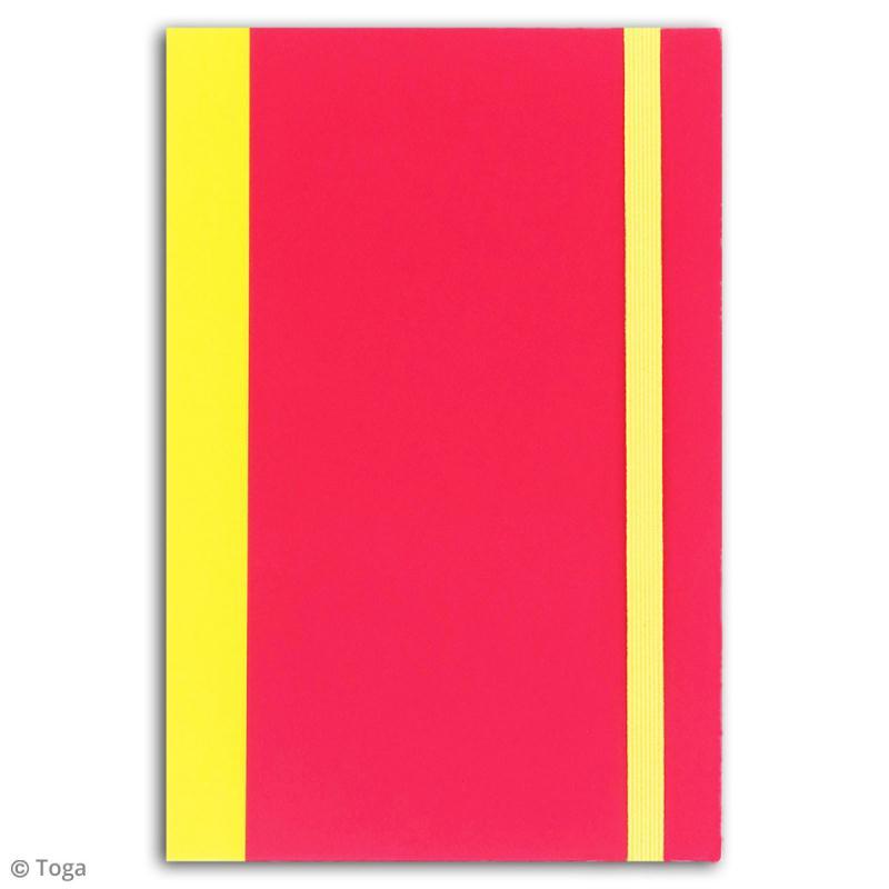 Carnet de poche bicolore - 60 pages - Fuchsia et jaune - 10 x 15 cm - Photo n°2