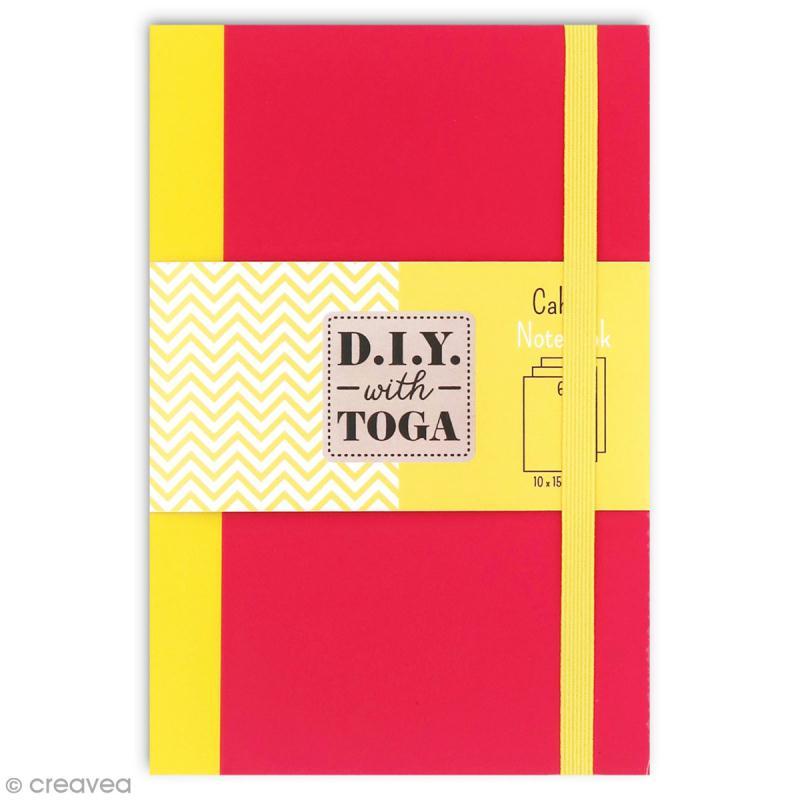 Carnet de poche bicolore - 60 pages - Fuchsia et jaune - 10 x 15 cm - Photo n°1