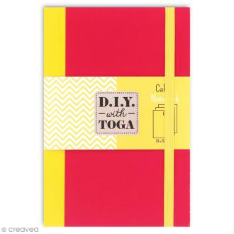 Carnet de poche bicolore - 60 pages - Fuchsia et jaune - 10 x 15 cm