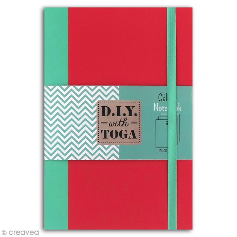 Carnet de poche bicolore - 60 pages - Corail et menthe - 10 x 15 cm - Photo n°1